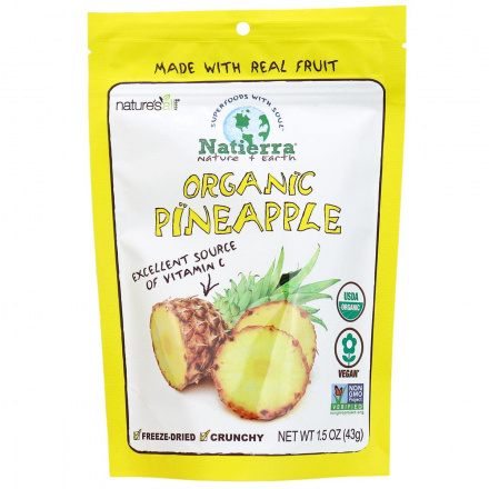 Front of Natierra Organic Freeze-Dried Pineapple, 43g
