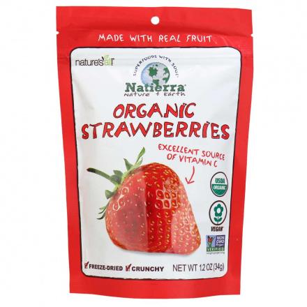 Front of Natierra Organic Freeze Dried Strawberries, 34g