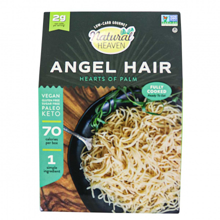 Front of Natural Heaven Veggie Pasta Angel Hair Made with Palm Hearts, 255g
