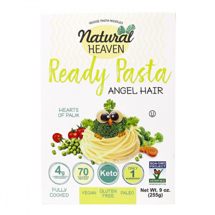 Natural Heaven Veggie Pasta Angel Hair Made with Palm Hearts, 255g