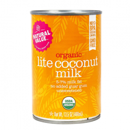 Natural Value Organic Lite Coconut Milk, No Guar Gum, 400ml