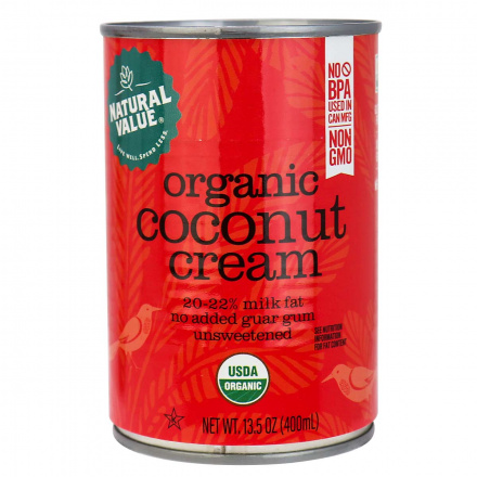 Natural Value Organic Coconut Cream, No Guar Gum, 400ml