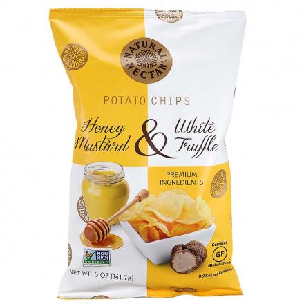 Front of Natural Nectar Potato Chips Honey Mustard & White Truffle, 141.7g