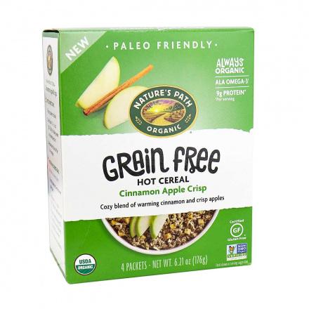 Front of Nature's Path Organic Grain Free Hot Cereal Cinnamon Apple Crisp, 176g