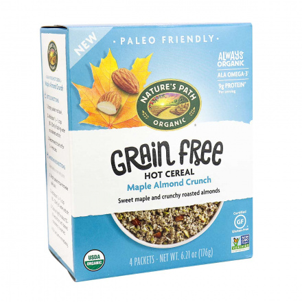 Front of Nature's Path Grain-Free Hot Cereal Maple Almond Crunch, 176g