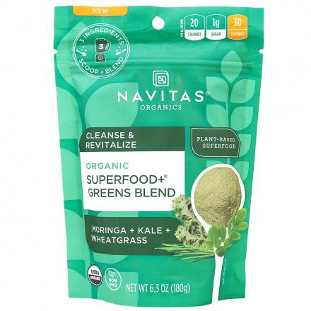 Navitas Organics Cleanse & Revitalize Superfood+ Greens Blend, 180g
