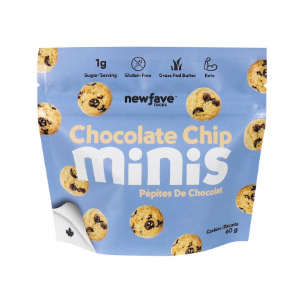 Front of New Fave Foods Chocolate Chip Minis, 60g