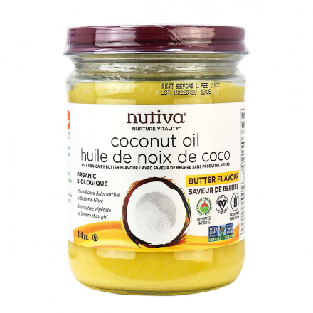 Front of Nutiva Butter Flavored Coconut Oil, 414ml
