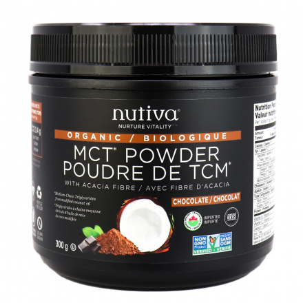Front of Nutiva Organic Chocolate MCT Powder With Acacia Fiber, 300g