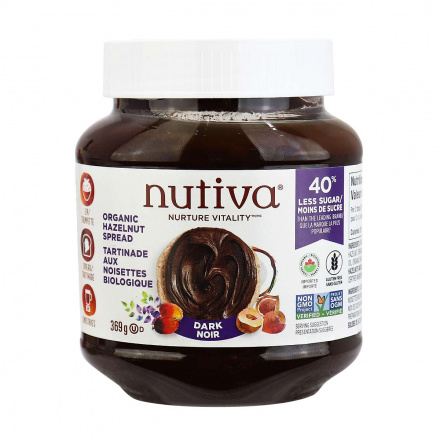 Front of Nutiva Organic Hazelnut Spread Dark Chocolate, 369g