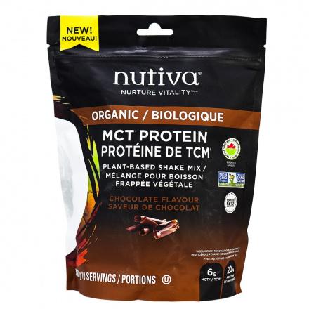 Nutiva Organic MCT Protein Plant-Based Shake Mix Chocolate, 390g