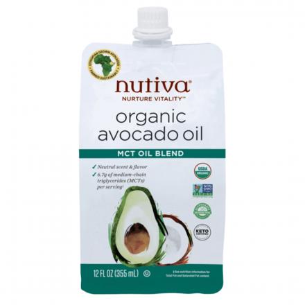 Front of Nutiva Organic Avocado Oil MCT Oil Blend, 355mL