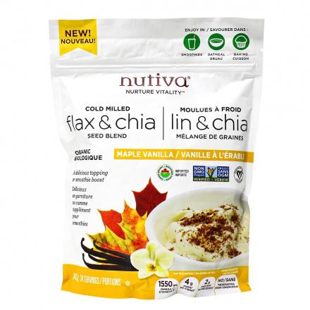Nutiva Cold Milled Organic Flax & Chia Seed Blend Maple Vanilla, 340g