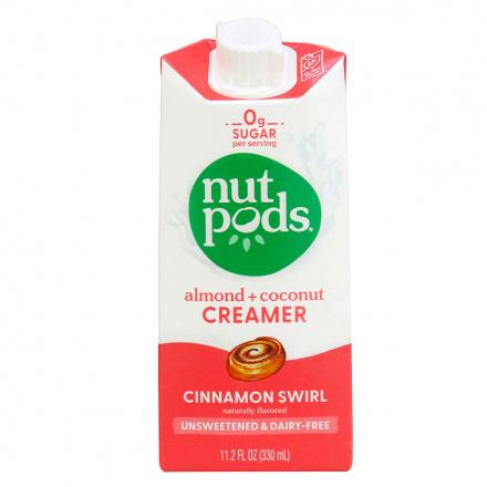 Front of Nutpods Dairy-Free Creamer Unsweetened Cinnamon Swirl, 330ml
