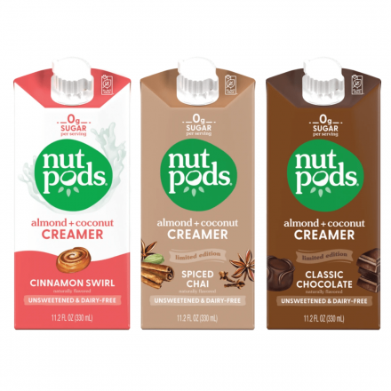 Front of Nutpods Unsweetened & Dairy Free Almond + Coconut Creamers Café Collection, 3 Pack