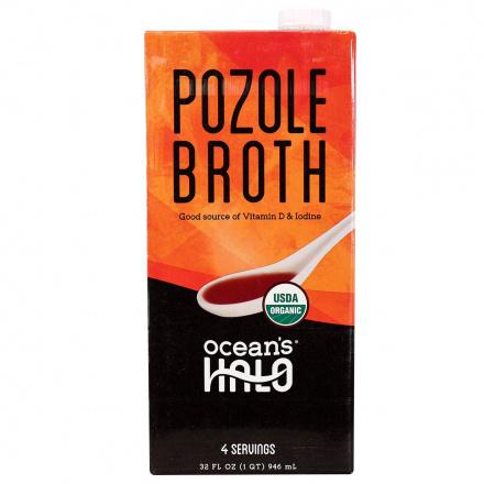 Front of Ocean's Halo Vegan Pozole Broth, 946mL
