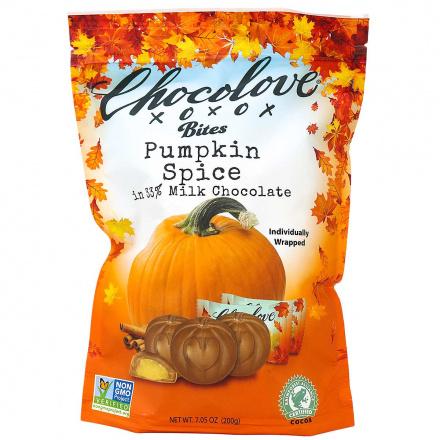 Chocolove Bites Pumpkin Spice in 33% Milk Chocolate, 20 Wrapped Bites