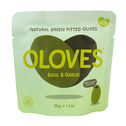 Oloves Low-Calorie Natural Green Pitted Olives with Basil & Garlic, 30g