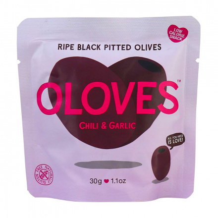 Oloves Low-Calorie Ripe Black Pitted Olives with Chili & Garlic, 30g