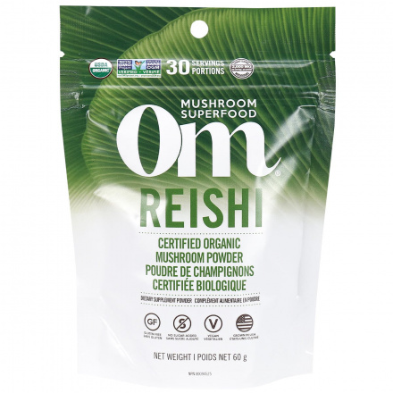 Front of Om Mushroom Superfood Reishi Certified Organic Mushroom Powder, 60g