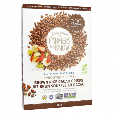 Front of One Degree Organic Sprouted Brown Rice Crisps Cacao, 284g