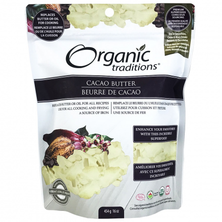 Organic Traditions Organic Cacao Butter, 454g