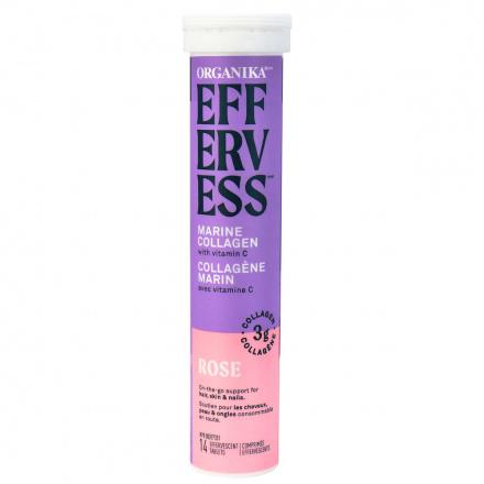 Organika Effervess Marine Collagen and Vitamin C Tablets Rose, 14 Tablets