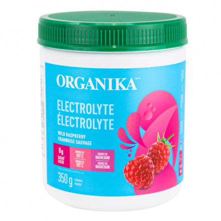 Front of Organika Sugar-Free Electrolyte Mix Wild Raspberry, 350g