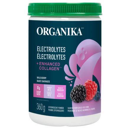 Front of Organika Electrolytes + Enhanced Collagen Wild Berry, 360g
