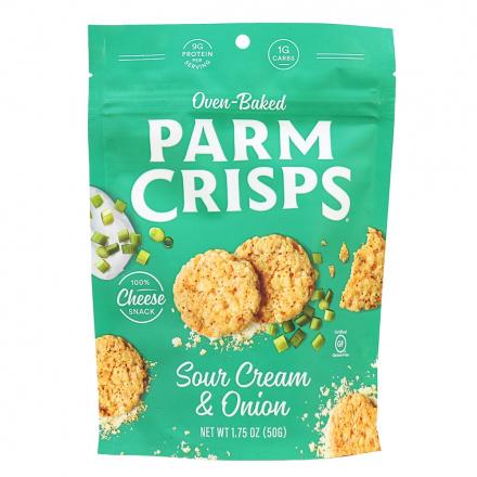 Front of ParmCrisps Sour Cream & Onion Cheese Crisps, 50g pouch