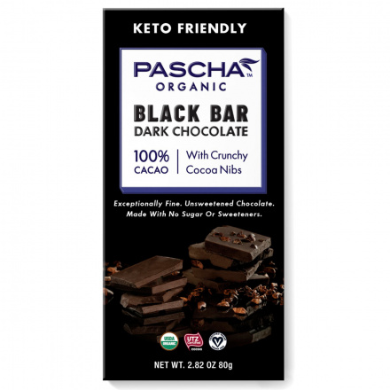Pascha Black Bar 100% Cacao Dark Chocolate with Cocoa Nibs, 80g