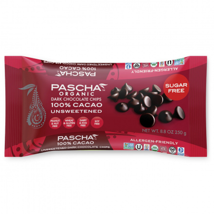 Front of Pascha Chocolate Chips Unsweetened, 250g