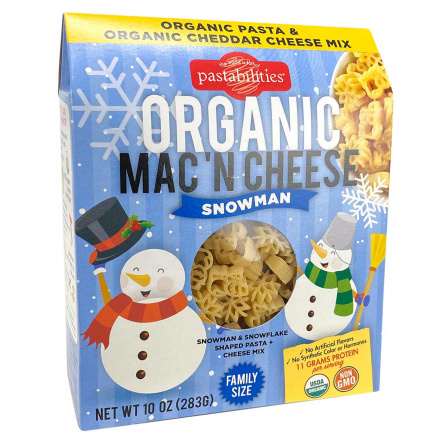 Front of Pastabilities Organic Mac 'N Cheese Snowman Family Size, 283g