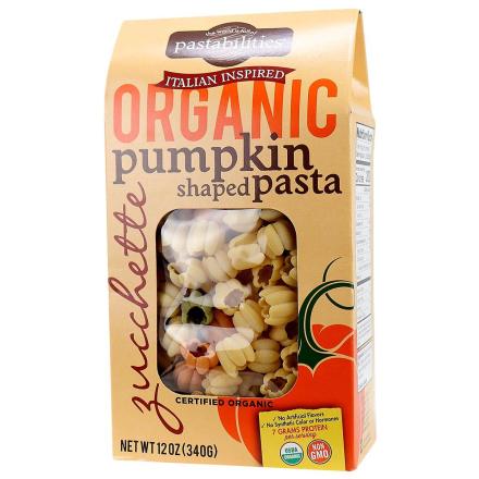 Front of Pastabilities Organic Pumpkin Shaped Pasta, 340g