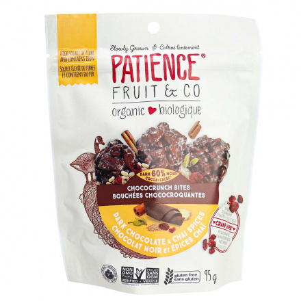 Front of Patience Fruit & Co Organic Chococrunch Bites Dark Chocolate & Chai Spices, 95g
