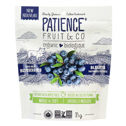 Front of Patience Organic Dried Wild Blueberries, 85g