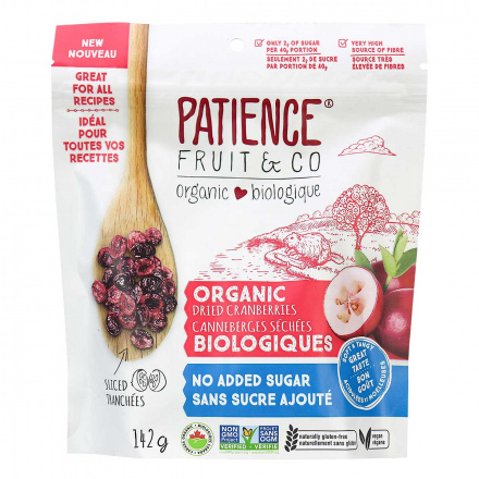 Front of Patience Organic Dried Cranberries with No Added Sugar, 142g
