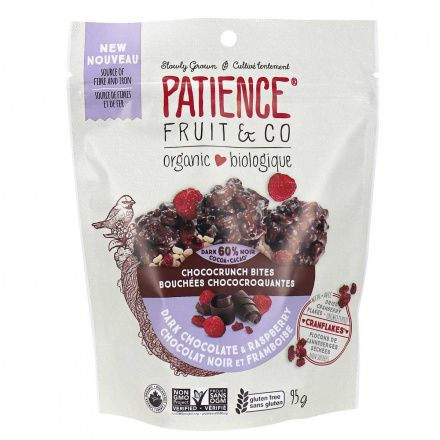 Front of Patience Fruit & Co. Organic Chococrunch Bites Dark Chocolate Raspberry, 95g