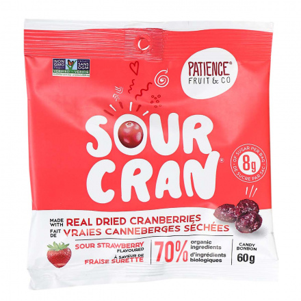 Front of Patience Fruit & Co. Organic Sour Cran Candy Sour Strawberry, 60g