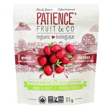 Front of Patience Organic Whole Dried Sweetened Cranberries, 113g