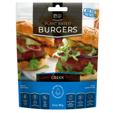Front of Back of Plant Based Chef Plant Based Burgers Greek, 150g
