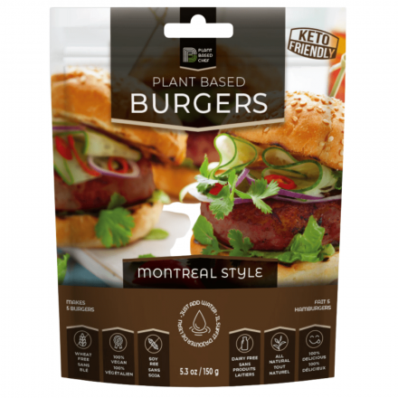 Front of Back of Plant Based Chef Plant Based Burgers Montreal Style, 150g