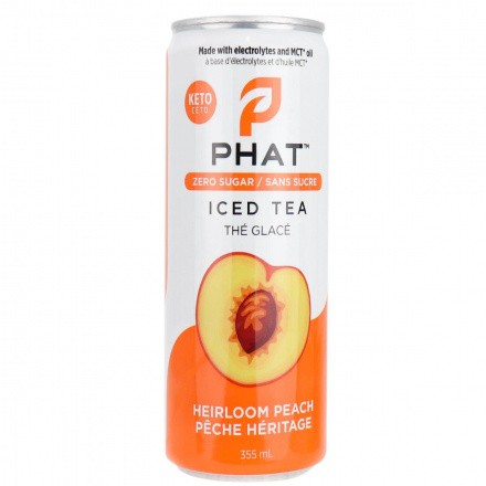 Front of Phat Iced Tea With Electrolytes and MCT Oil Heirloom Peach, 355mL
