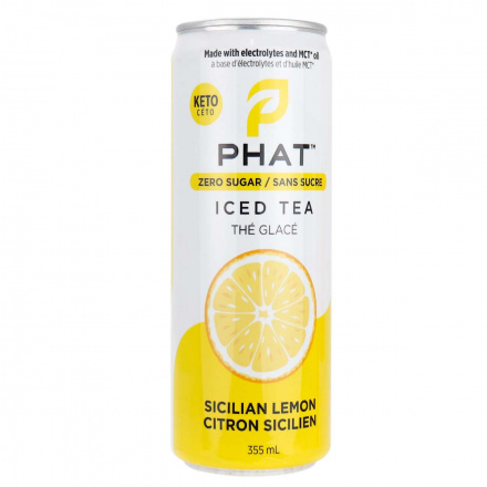 Front of Phat Iced Tea With Electrolytes and MCT Oil Sicilian Lemon, 355mL