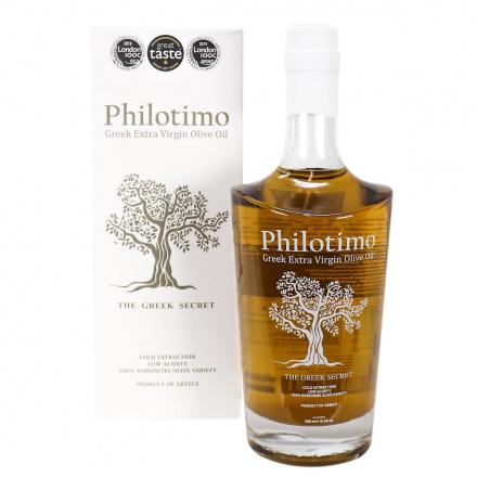 Bottle of The Greek Secret Philotimo Greek Extra Virgin Olive Oil, 500mL