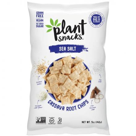 Front of Plant Snacks Sea Salt Cassava Root Chips, 142g
