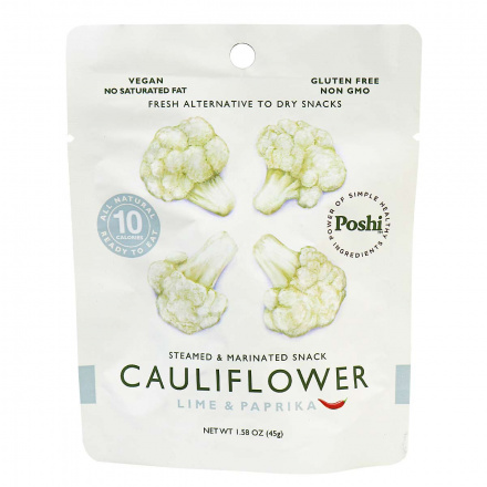 Poshi Gluten-Free Cauliflower Lime & Paprika Steamed & Marinated Snack, 45g