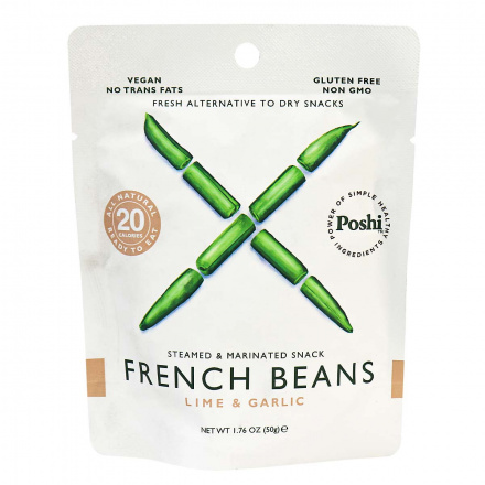 Poshi Gluten-Free French Beans with Lime & Garlic Steamed & Marinated Snack, 45g