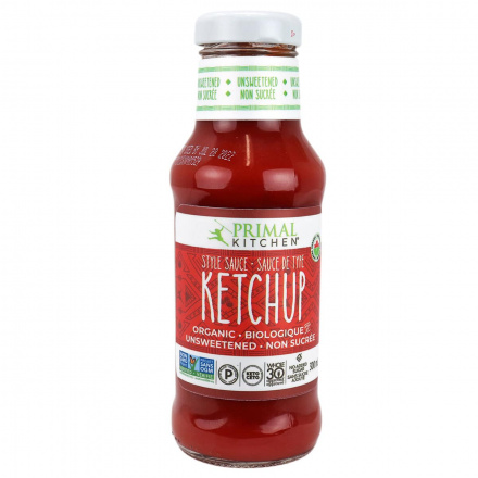 Front of Primal Kitchen Organic Unsweetened Ketchup, 320g