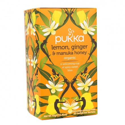 Pukka Organic Herbal Tea Lemon, Ginger & Manuka Honey, 20 Sachets